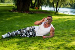 Man Drinking Water After Exercise Stock Photos
