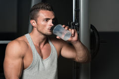 Man Drinking Water After Exercise Stock Images