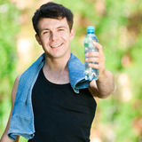 Man drinking water after fitness Royalty Free Stock Photos
