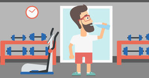 Man drinking water. A sportive hipster man with the beard drinking water in the gym vector flat design illustration. Horizontal layout royalty free illustration