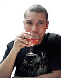 Man drinking wine Stock Images