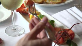 Man drinking wine and eating lobster. For dinner stock video footage