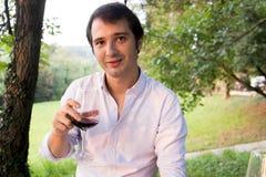 Man drinking wine Stock Photo