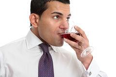 Man drinking or wine tasting Royalty Free Stock Image