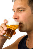 Man drinks beer Stock Photography