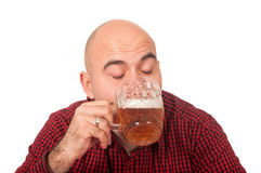 Man drinks beer Stock Image