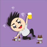 Man drinks beer cartoon Stock Images
