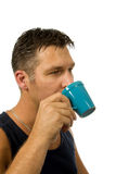 Man drinks his coffee Royalty Free Stock Image