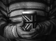 Man drinks hot tea. Blackly white photo Stock Images