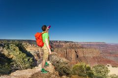 Man drinks water in Grand Canyon National Park Royalty Free Stock Image
