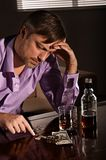 Man drinks whiskey Stock Photography