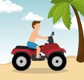 Man drive atv on beach. Vector illustration eps 10 Royalty Free Stock Image