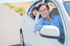 Man drive car in Furano. Man with daughter drive car in Furano Royalty Free Stock Photography