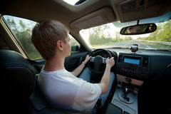 Man drive car, inside Royalty Free Stock Photo
