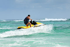 Man drive on the jetski Stock Photo
