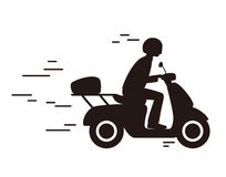 Man drive motorcycle silhouette, vector illustration Stock Photography