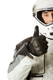 Man in driver costume with thumbs up Stock Photos