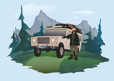 Man driver stands next to the SUV on a forest road. Jeeping emblem. Traveling by off-road car. Vector isolated. Man driver stands next to the SUV on a forest Stock Photos