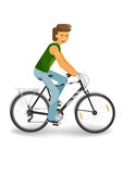 Man driving a bike. Man in t-shirt driving black bike, isolated on white background vector illustration stock illustration