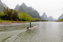 Boat on LiJiang river stock photo