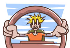 Man driving a car royalty free illustration