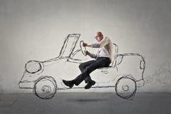 Man driving a car Stock Photo