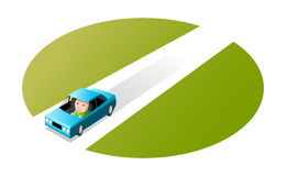 Driving a car. Man driving car, cartoon illustration Royalty Free Stock Photos