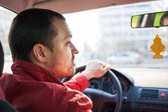 Man driving car in city Royalty Free Stock Photography