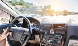 Man driving the car on the freeway. In Los Angeles, California Royalty Free Stock Image