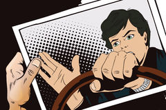 Man driving a car. Hand with photo. Royalty Free Stock Photo
