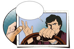 Man driving a car. Hand with photo. Royalty Free Stock Photos