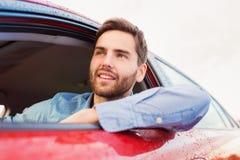 Man driving a car Stock Image