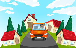 Man driving car in the neighborhood. Illustration Stock Photo
