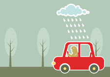 Man driving by car under raining cloud. Stock Photos