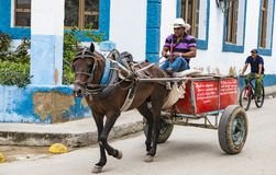 Horse-drawn cart, Santiago de Cuba Stock Photo