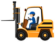 Man driving and controling the forklift Stock Photography