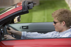 Man Driving Convertible Car Stock Photography