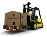 Man Driving Fork Lift Truck Isolated on White Stock Image