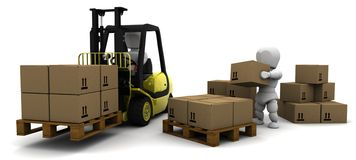 Man Driving Fork Lift Truck Isolated on White Royalty Free Stock Images