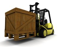 Man Driving Fork Lift Truck Isolated on White Stock Images
