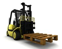 Man Driving Fork Lift Truck Isolated on White Stock Photo