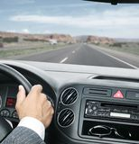 Man is driving with hands on the steering wheel with clipping path Royalty Free Stock Photography