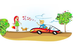 Man driving his sports car and a woman. A situation on the road: man falling in love with a cute rea-haired young woman walking in a park with her dog Stock Photo