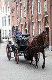 Man driving a horse and carriage. A man in a tombola hat, driving a horse and carriage in Brugge Belgium Stock Images