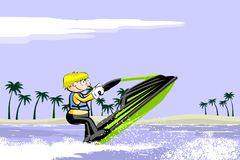 Man driving jet ski on a water Royalty Free Stock Photo