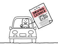 Man & driving licence. Hand drawn cartoon characters - man & driving licence Royalty Free Stock Photography