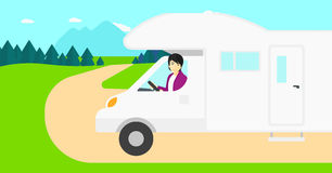 Man driving motor home. Royalty Free Stock Photos