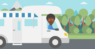 Man driving motor home vector illustration. Royalty Free Stock Image