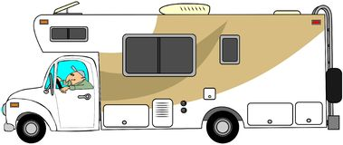 Man driving a motorhome. This illustration depicts a man driving a motorhome Stock Image