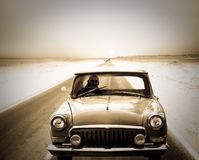 Man driving on retro car Stock Images